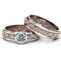 Two Tone 925Silver Rose Gold White Sapphire Flower Ring Set Wedding Jewelry 2Pcs