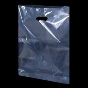 """50 Clear Plastic Polythene Shopping Carrier Bags Patch Handle 10"""" x 16"""" x 4"""""""