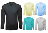 UK New Mens Chunky Cable Knitted Jumper V Neck Long Sleeve Top Knitwear Sweater