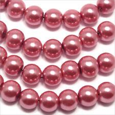 Lot de 30 perles Nacrées 8mm Rose flamant en verre de Bohème