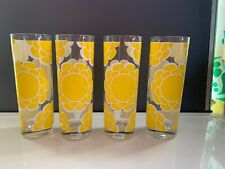 """4 Vintage 70's Drinking Glasses 7"""" Tall Colony Sunny Yellow White Flower Retro"""