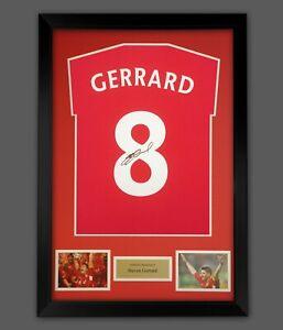 Steven Gerrard Hand Signed Red T-Shirt In A Frame Presentation