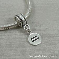 925 Sterling Silver Equality Symbol LBGT Dangle Charm - fits European Bracelets