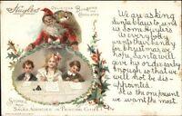Christmas - Santa Claus & Children - Huyler's Chocolates c1910 Postcard