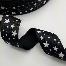 "NEW DIY 5 yards 1"" 25 mm  printed grosgrain ribbon Star Black hair bow craft X"