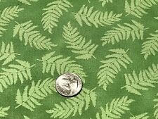 Fabric Leaves Fern Tossed on Green Cotton 1 Yard S