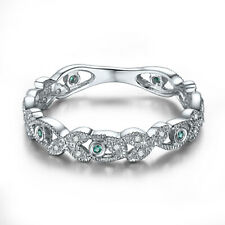 Solid 18k White Gold Genuine Natural Diamonds&Emerald Engagement Ring Jewelry