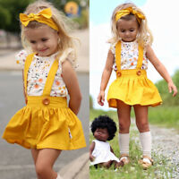 Toddler Kids Baby Girls Outfits Clothes T-shirt Tops+Strap Dress Skirt 3PCS Sets