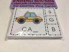 ENDING SOUNDS - Cards for Learning Center 52 Cards- LettersTeaching Pre-k