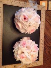 "Blush Flower Kissing Ball Wedding Fabric Rose Ball 5"" Diameter Hanging"