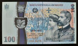 ROMANIA - P124 - 100 Lei 2018 - POLYMER COMMEMORATIVE - Queen Great Union - UNC