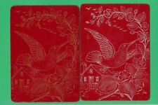2 VINTAGE WIDE PLAYING SWAP CARDS LACQUER HUMMING BIRDS RED - COPPER & SILVER