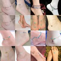 Silver Bead Chain Anklet Ankle Bracelet Barefoot Sandal Beach Foot Women Jewelry
