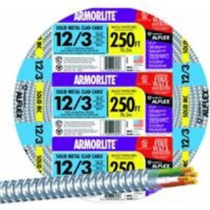 Armor lite Type Mc Aluminum Armored Cable, 12/3, 600 Volts, 250 Ft. Coil