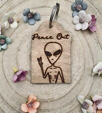 Customised Alien Key Ring Any Text Peace Out Space Alien Hippie Gift Keychain