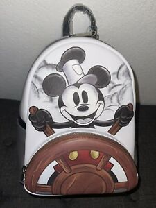 NWT Mickey Mouse Steamboat Willie Black & White Disney Loungelfy Mini Backpack