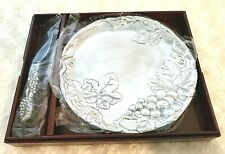 Vintage Arthur Court 2000 Grapevine 8 Inch Plate With Cheese Server Set 040636