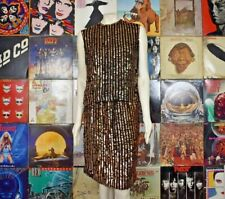 Vintage 70s Disco Black w/ Gold Sequin 2 Piece Mini Skirt Tank Top Stage Outfit