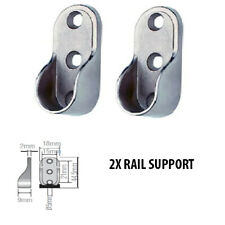 2 X Rail Hanger Standard Tube Support Wardrobe Rod Socket Fitting Round Bracket