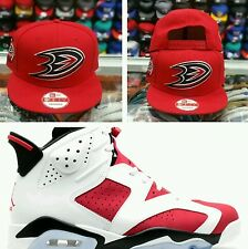 Matching New Era Anaheim Ducks 9Fifty snapback for Jordan 6 Carmine Black red