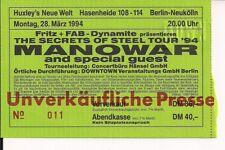 MANOWAR & Grave Digger Used Free Ticket Berlin 28.03.1994