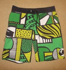 36 / Mens QUIKSILVER Board Swim Surf Shorts Pre Owned Clean Green Yellow Black