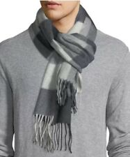 $425 Begg & Co Black Gray 100% Cashmere Scarf Made in Scotland Arran Hildasay