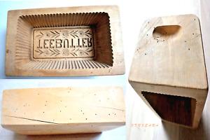 altes Buttermodel aus Holz mit Werbung / Beschriftung TEEBUTTER