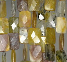 """14X10MM CREAMY OPAL GEMSTONE YELLOW FACETED RECTANGLE LOOSE BEADS 15.5"""""""