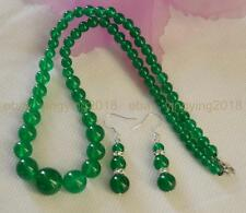 """6-14mm Natural Green Jade Round Beads Necklace 18"""" Earrings Jewelry Set"""