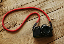 Windmup Black leather Pure red 10mm  handmade Camera neck strap