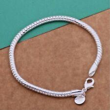 925 Sterling Silver 3mm Snake Chain Charm Bracelet Ladies Jewellery UK