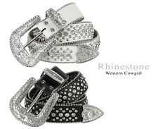 "Rhinestone Western Cowgirl Bling Studded Design Leather Belt 1-1/2""(38mm) wide"