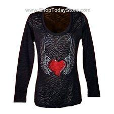 T Shirt 3XL XXXL Women Woman Lady Motorcycle Biker Western Cowgirl Long Sleeve