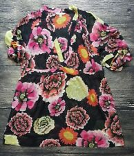 CAbi Women's Size Large L Style #400 Sheer Gemini Floral Print Tunic Blouse A4*