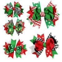 1Pcs Girl Christmas Holiday Gift Snowflake Ribbon Hair Bows Clip Girl Hairpin