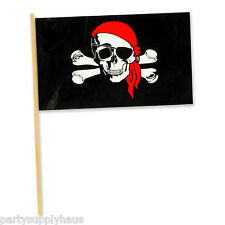 "*12 Plastic Party Favor PIRATE FLAGS 4"" X 6"" Jolly Roger * SKULL & CROSSBONES"