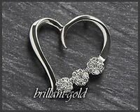 Diamant ♥♥♥ Anhänger aus Gold mit 0,15ct, 10 Karat Weißgold, Damen Herz Neu