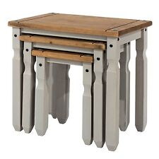 CORONA Grey Washed Nest of 3 Tables Mexican Style Solid Pine