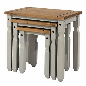 Corona Grey Nest of 3 Tables Washed Effect Solid Wood Mexican Pine
