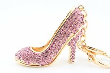 Pink Heel Shoes Stiletto Fashion Keychain Crystal Charm Gift Collectible F5A