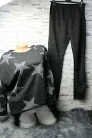 Italy Jogger Sweat Pulli Shirt Schal Pullover 3 Teile Gr. 36 38 40 42 grau Stern