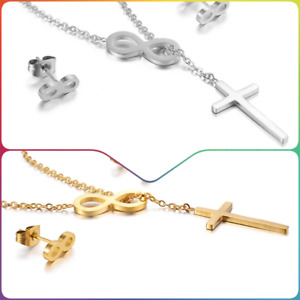 Beautiful celebrity cross and infinity  Stainless steel women girl necklace