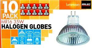 10 x 12V 35W MR16 Halogen Light Lamp Globes Bulbs 38 Deg Beam Dimmable GU5.3