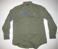 Men's Long Sleeve Brown Twill Button-Down Shirt Long Tall LT XLT New NWT MSP $50