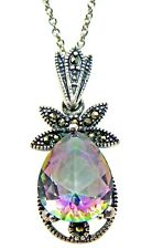 """1.10"""" SOLID Sterling Silver Mystic Topaz Marcasite Pendant 16"""" Necklace 2.8g"""