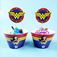 Wonder Woman Theme Kids Party Accessories Cupcake 12pcs Wrapper & 12pcs Topper