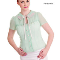 Hell Bunny Shirt Top Chiffon Blouse Mermaid SHELLI Mint Green Seashell All Sizes