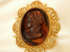 Stunning Huge Cocoa Glass Cameo Gold Tone Vintage 60's Very Classy Brooch 31jl7