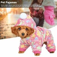 Pet Dogs Cats Pajamas Flannel Clothes Winter Warm Jumpsuit Coat Soft Apparel